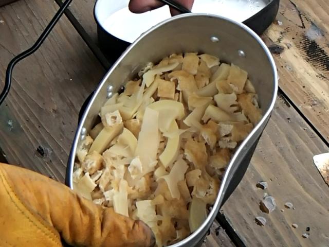飯盒炊爨での筍ごはんの完成