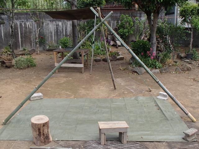 竹のトライポッドの完成