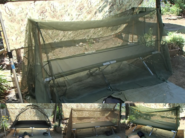 米軍コットとモスキートネット(蚊帳)の比較
