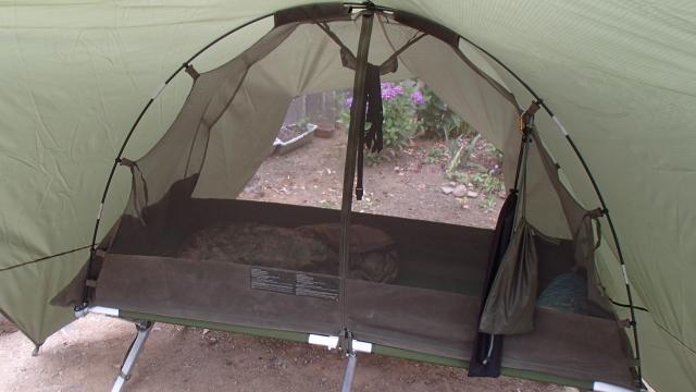 米軍コットに英軍蚊帳テントをマウントする