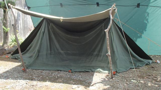 モスキートネット(蚊帳)導入後のパップテント