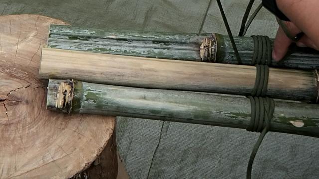 5回か6回竹に通したパラコード