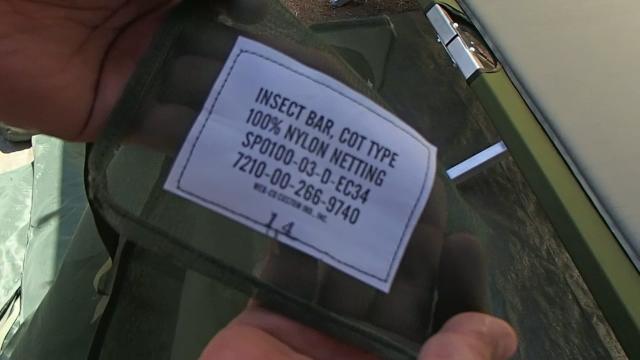 米軍コット専用蚊帳のタグ