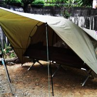 英軍コット用蚊帳テントと米軍コット