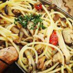 焚き火で作る飯盒パスタ 和風きのこスパゲティ