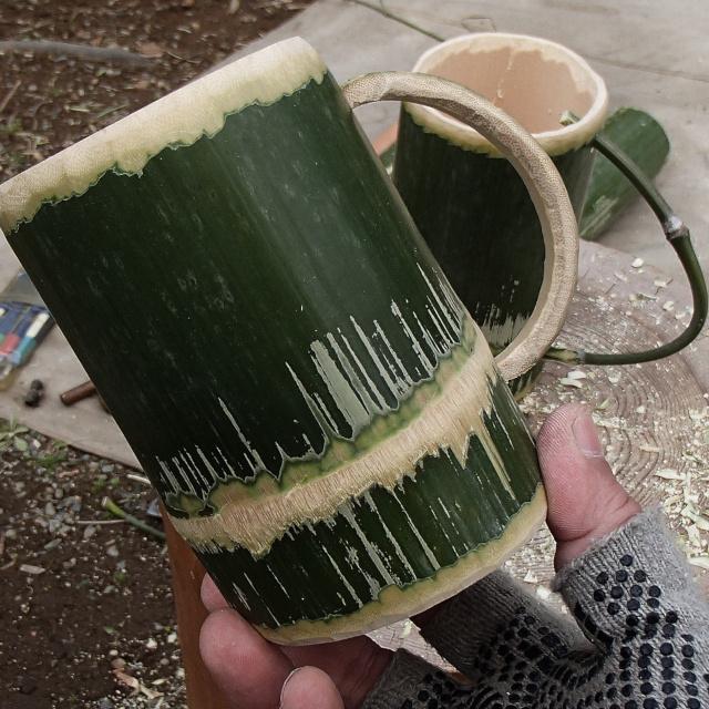 竹のマグカップの完成品