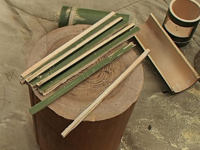竹ドリッパーのスタビライザー用の細く割った竹