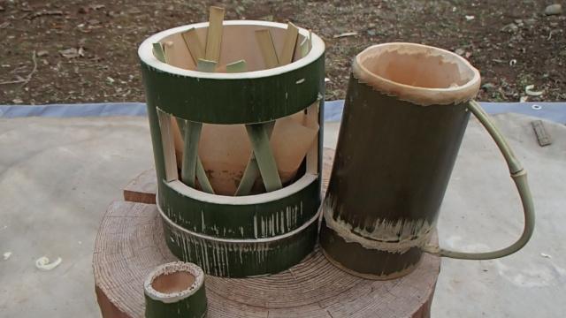 竹マグカップと竹コーヒードリッパー