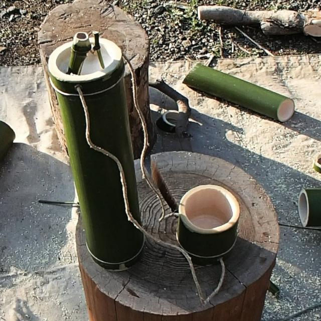 竹コップ付き竹水筒の完成