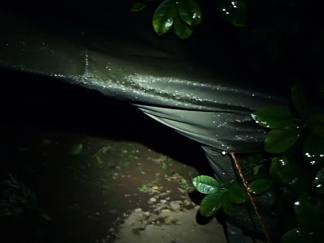 雨の中で張っていたポーランド軍テント三枚張り