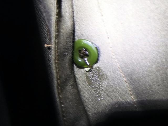 ポーランド軍テントのボタンから雨漏り